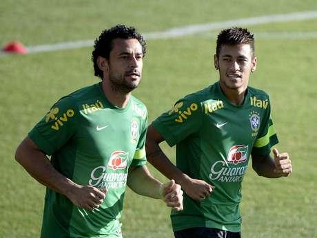 <p>Fred elogiou o clima interno no elenco da Seleção Brasileira com o técnico Felipão</p>