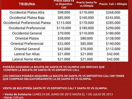 Información Boletería partido Independiente Santa Fe - Olimpia