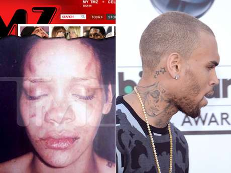Em 2009, Rihanna apanhou do ex-parceiro Chris Brown. Ele tatuou o rosto deformado dela no pescoço após o ocorrido