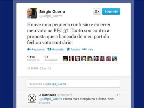 Em sua conta no Twitter, o ex-presidente nacional do PSDB afirmou: houve uma pequena confusão e eu errei meu voto na PEC 37. Tanto sou contra a proposta que a bancada do meu partido fechou voto contrário