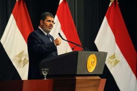 O presidente do Egito, Mohamed Mursi, em discurso à nação no Cairo