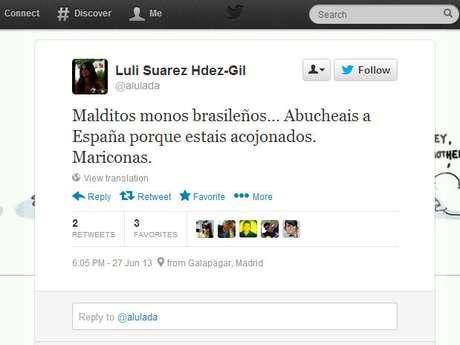 """<p>""""Malditos macacos brasileiros, vaiam a Espanha porque estão aterrorizados"""", escreveu uma torcedora espanhola</p>"""