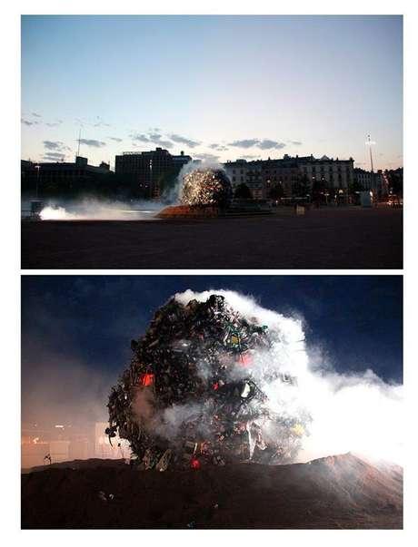 <p>Toneladas de lixo caíram em forma de meteorito sobre Genebra para conscientizar a população</p>