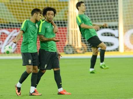 <p>Neymar e Marcelo s&atilde;o amigos pr&oacute;ximos na Sele&ccedil;&atilde;o Brasileira</p>
