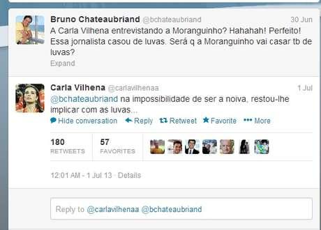 <p>Bruno Chateubriand fez comentário sobre Carla Vilhena, que respondeu e causou polêmica no Twitter</p>