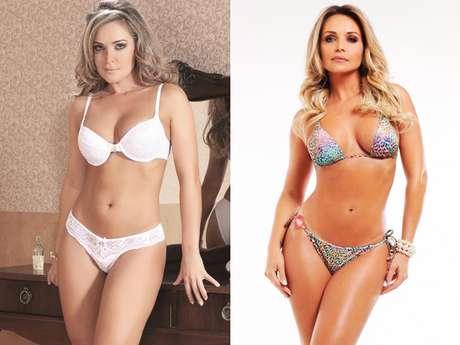 Modelo antes e depois de drenagem que a fez perder 6 cm de cintura