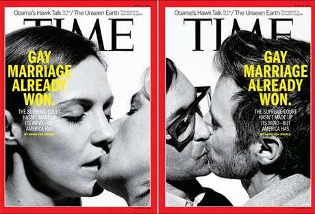 <p>Em março, a revista Time publicou capas com beijos entre pessoas do mesmo sexo em apoio ao casamento gaynos EUA</p>