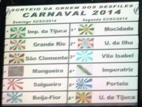 Sorteio foi realizado na Cidade do Samba