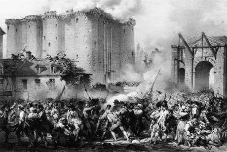 <p>Queda da Bastilha, em 14 de julho de 1789</p>