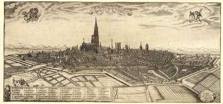 <p>Gravura de 1587mostra a cidade de Estrasburgo, que no período romano foi chamada deArgentoratum</p>