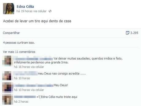 Postagem gerou preocupação entre familiares e amigos de Edna; minutos depois, sua morte foi confirmada