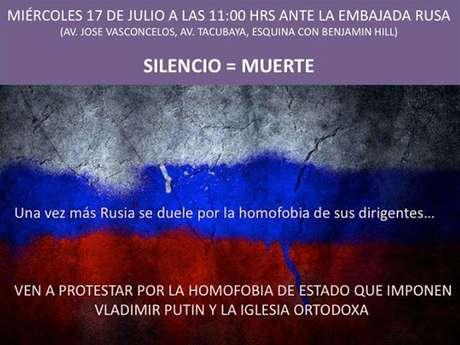 """Con la medida se espera que """"el gobierno ruso sepa que nuestros hermanos y hermanas LGBT en Rusia no están solos"""", afirmó el activista Alonso Hernández."""