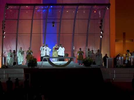 Arcebispo do Rio de Janeiro, dom Orani Tempesta, fala durante a missa de abertura da Jornada Mundial da Juventude, em Copacabana