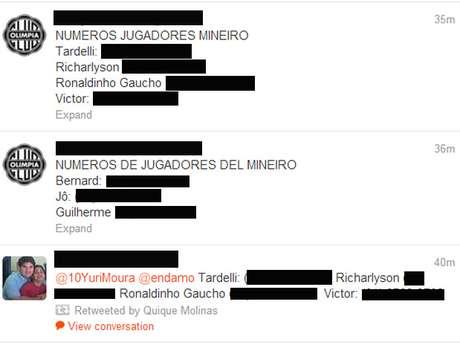 Ao longo da madrugada, páginas do Twitter e Facebook divulgaram supostos celulares de atleticanos