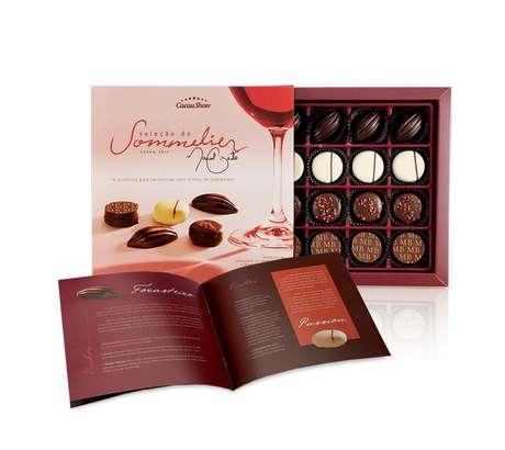 <p>Livreto sobre harmonização acompanha a caixa com 16 bombons ideais para harmonizar com vinhos</p>