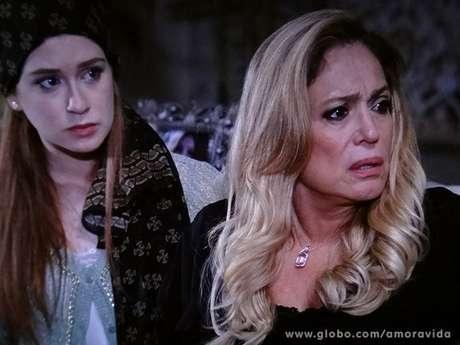 Nicole (Marina Ruy Barbosa) conta a Pilar (Susana Vieira) que Leila (Fernanda Machado) a aconselhou a fazer um testamento e a mulher de César (Antonio Fagundes) se revolta