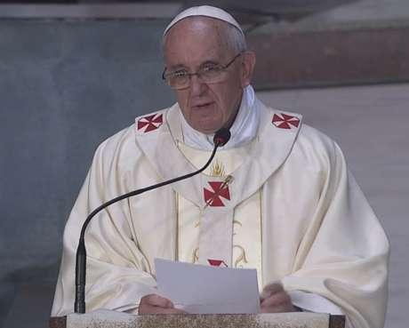 Papa Francisco durante a homilia na missa para membros da Igreja Católica