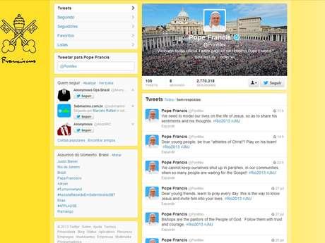 Pontífice tem 2,77 milhões de seguidores na rede social de 140 caracteres