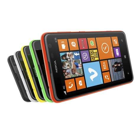 Nokia Lumia 625 - Sem tanto alarde, a Nokia anunciou também o Lumia 625, seu maior aparelho rodando Windows Phone 8. O smartphone tem tela de 4,7 polegadas, processador dual-core Snapdragon S4 de 1,2 GHz, câmera de 5 megapixels, 512 MB de RAM e 8GB de armazenamento (expansível via cartão de memória microSD). Apesar da tela grande, o aparelho tem uma configuração mais modesta que os outros da linha Lumia, tornando-o mais competitivo entre os aparelhos com tecnologia 4G LTE: 220 euros (cerca de US$ 290)