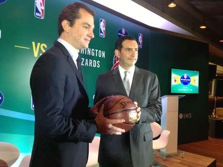 <p>Amon (esq) &eacute; um dos respons&aacute;veis diretos por levar jogo da NBA ao Rio de Janeiro</p>