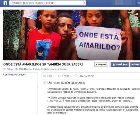 Manifestantes protestam contra o desaparecimento do pedreiro Amarildo