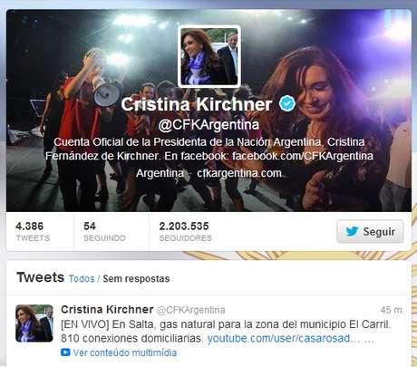 O perfil da presidente da Argentina é o mais popular
