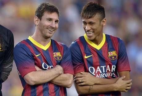 <p>Messi e Neymar têm se dado bem nas primeiras semanas de convívio no Barça</p>