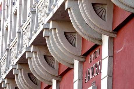 A fachada da Casa Histórica de Arocena foi baseada na arquitetura da região do País Basco, no norte da Espanha