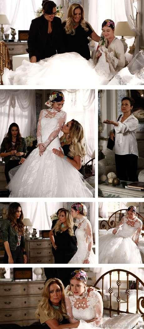 Nicole (Marina Ruy Barbosa) está fazendo a prova de seu vestido de noiva quando é surpreendida por Lídia (Angela Rebello)