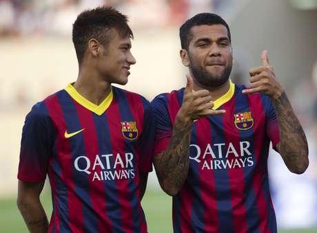 """<p>Daniel Alves lembrou que o """"ator principal"""" do Barcelona já é Messi</p>"""