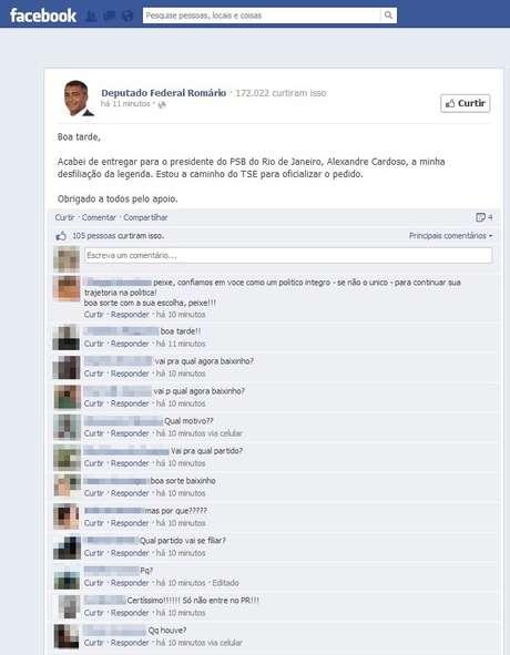 O deputado federal Romário anunciou pelo Facebook sua saída do PSB