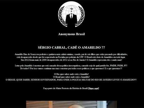 <p>Hackers pedem resposta sobre o desaparecimento do pedreiro Amarildo em ataque à página do PMDB</p>