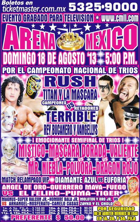 Cartelera gráfica del 18 de agosto del 2013 en la Arena México