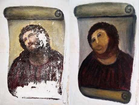 Montagem mostra a obra original e a versão restaurada por Gimenez (dir.)