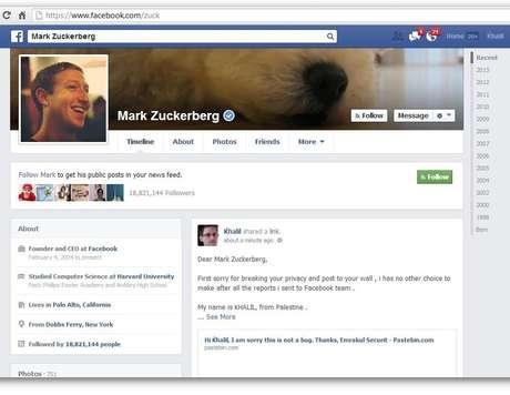 Hacker, que usou imagem de Edward Snowden, postou mensagem o perfil do fundador do Facebook