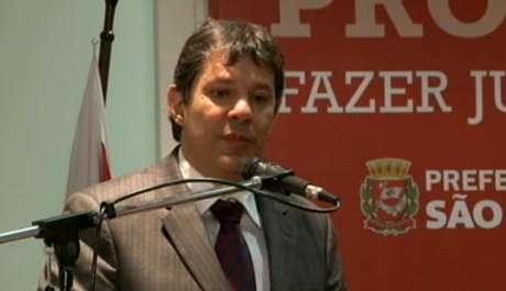 Haddad durante a apresentação de projeto do novo Plano Diretor de São Paulo