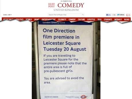 <p>Reprodução da foto do aviso publicada pelo site The Huffington Post, nesta terça-feira</p>
