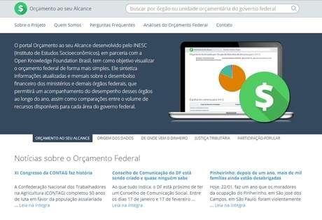 A página mostra informações sobre o Orçamento de órgãos federais e quanto já foi gasto em 2013
