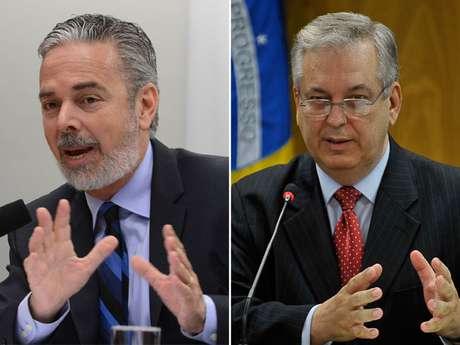 <p>Antonio Patriota (esq.) pediudemissão do cargo de ministro das Relações Exteriores (Itamaraty). Elefoi substituído por Luiz Alberto Figueiredo Machado, representante do Brasil junto à ONU</p>