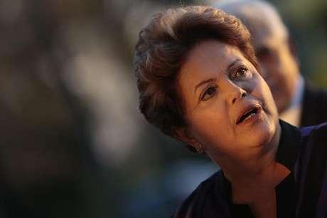 <p>A presidente da República reage durante evento no Palácio da Alvorada, em Brasília</p>