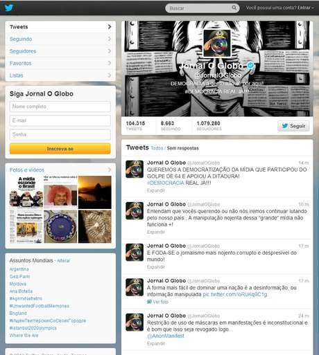 Perfil do jornal O Globo no Twitter foi invadido por hackers nesta sexta-feira