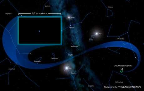 <p>Ilustração feita a partir de dados obtidos por rede de radiotelescópios mostra localização da Voyager 1</p>