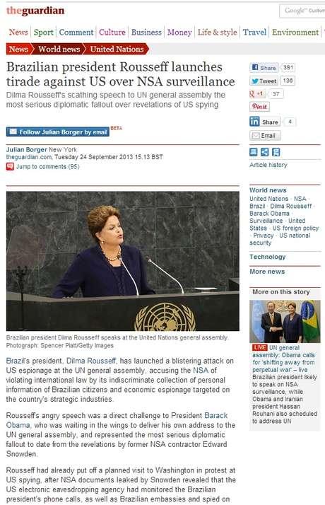 <p>Jornal The Guardian diz que Dilma discursou contra os EUA</p>
