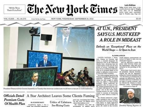 Capa do jornal New York Times desta quarta-feira fala sobre a abertura da Assembleia Geral da ONU