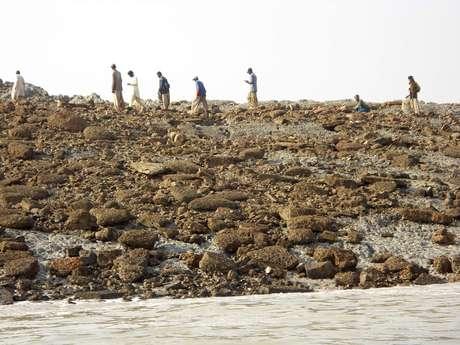 <p>Un grupo de personas camina sobre la isla que apareció tras terremoto en Pakistán.</p>