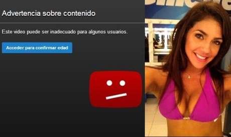 <p>Advertencia en Youtube del videoclip en el que figura Vania Bludau.</p>