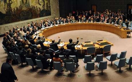 <p>Sessão do Conselho de Segurança da ONU queaprovoupor unanimidade a resolução que exigea erradicação do arsenal de armas químicas da Síria, em 27 de setembro</p>
