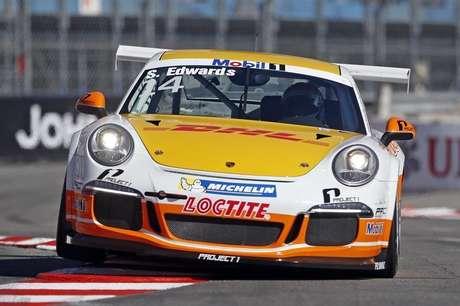 Piloto britânico Sean Edwards a bordo de seu carro da categoria Porsche Supercup, durante corrida de Mônaco. Edwards morreu em um acidente no circuito australiano de Queensland. Edwards, de 26 anos, liderava a temporada da Porsche Supercup, a uma prova do encerramento. 26/05/2013.