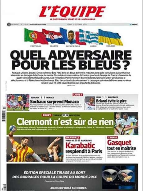 <p>Evra estampa a capa do jornal L'Equipe desta segunda-feira, com a manchete referente à repescagem da Europa para a Copa do Mundo de 2014; mais tarde, sorteio apontou confronto com a Ucrânia</p>