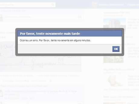 Problema também ocorre quando usuário tenta comentar posts